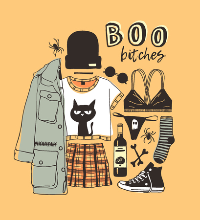 Hand drawn illustration Outfit Woman and Quote. Creative ink art work. Actual vector drawing Season Wear. Artistic isolated Halloween look and text: BOO bitches Иллюстрация