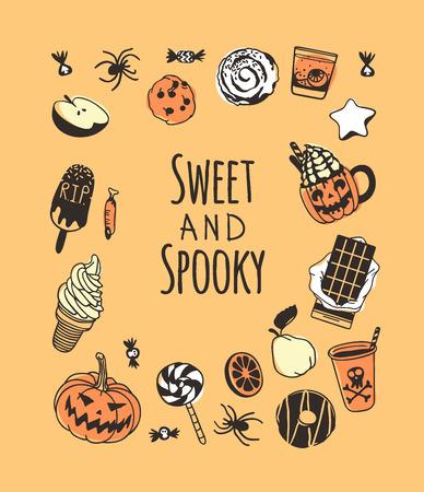 Hand gezeichnete Illustration Süßigkeiten und Zitat. Kreative Tintenkunstwerke. Tatsächliche Vektorzeichnung Essen und Trinken. Künstlerisch isolierte Halloween-Objekte und Text: Süß und gruselig
