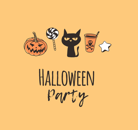 Hand drawn illustration pumpkin, cat, candy, cookie, drink and Quote. Creative ink art work. Actual vector drawing. Artistic isolated Halloween objects and text: Halloween Party 일러스트