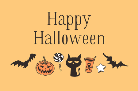 Hand drawn illustration Jack O Lantern, Bat, Candy, Cat, Drink, Star Cookie and Quote. Creative ink art work. Actual vector drawing. Artistic isolated Halloween objects and text: Happy Halloween