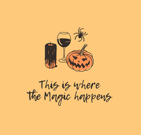 Hand drawn illustration candle, wine, pumpkin, spider and quote. Creative ink art work. Actual vector drawing. Artistic isolated Halloween objects and text: This is where the Magic happens Illustration