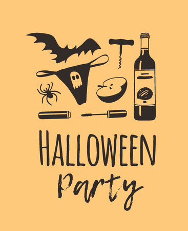 Hand drawn illustration thong panties, bat, wine, spider, mascara, corkscrew and Quote. Creative ink art work. Actual vector drawing. Artistic isolated Halloween objects and text: Halloween Party  イラスト・ベクター素材