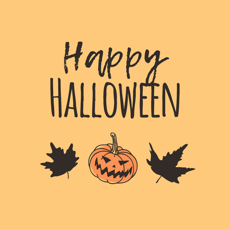 Hand drawn illustration Jack O Lantern, Leaves and Quote. Creative ink art work. Actual vector drawing. Artistic isolated Halloween object and text: Happy Halloween