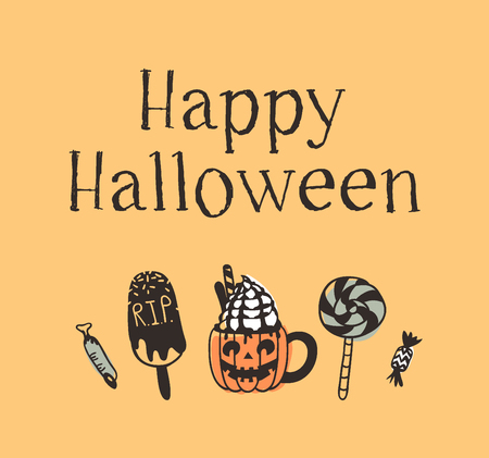 Hand drawn illustration Sweets and Quote. Creative ink art work. Actual vector drawing candy, ice cream, pumpkin spice latte. Artistic isolated Halloween food and text: Happy Halloween