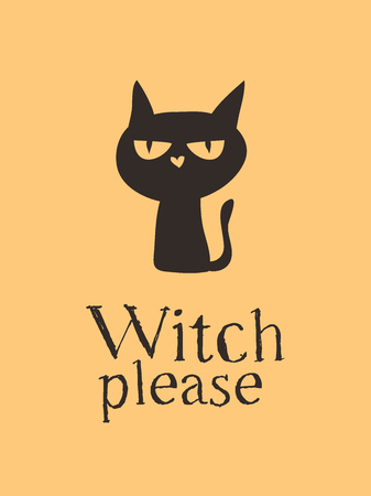 Witch Black Cat and Quote. Creative ink art work. Actual vector drawing. Artistic isolated Halloween Character and text: Witch Please 일러스트