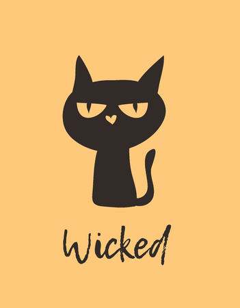 Witch Black Cat and Quote. Creative ink art work. Actual vector drawing. Artistic isolated Halloween Character and text: Wicked