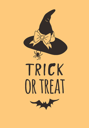 Hand drawn illustration Witch Hat and Quote. Creative ink art work. Actual vector drawing Head Wear and Lettering. Artistic isolated Halloween object and text: Trick and Treat