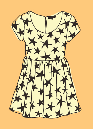 Hand drawn illustration Dress with Stars. Creative ink art work. Actual vector drawing Wear. Artistic isolated Halloween object Banque d'images - 109014754