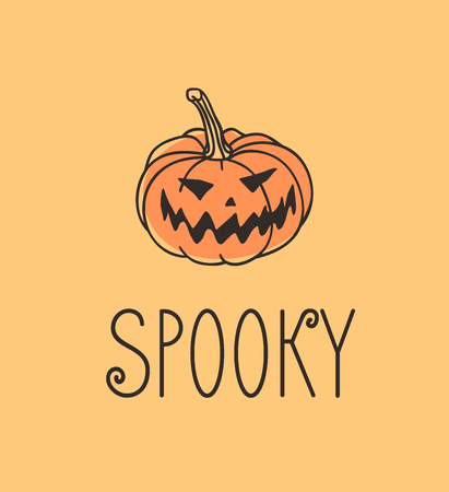 Hand drawn illustration Jack O Lantern. Creative ink art work. Actual vector drawing Pumpkin. Artistic isolated Halloween object with word Spooky