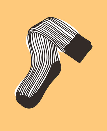 Hand drawn illustration Socks with Stripes. Creative ink art work. Actual vector drawing Wear. Artistic isolated Halloween object