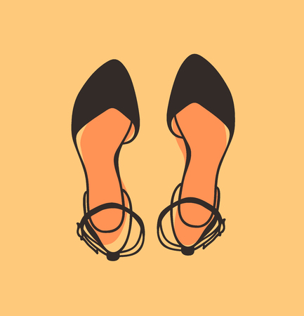 Hand drawn illustration Shoes. Creative ink art work. Actual vector drawing. Artistic isolated Halloween object