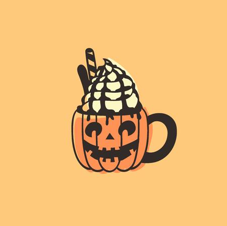 Hand gezeichnete Illustration Season Sweet. Kreative Tintenkunstwerke. Tatsächliche Vektorzeichnung Tasse Kürbisgewürz Latte. Künstlerisches isoliertes Halloween-Essen