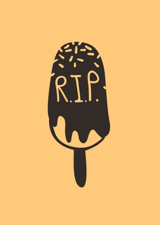 Hand drawn illustration Season Sweet. Creative ink art work. Actual vector drawing RIP Ice Cream. Artistic isolated Halloween food  イラスト・ベクター素材