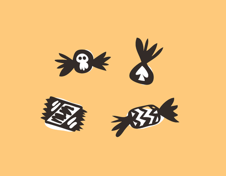 Hand drawn illustration Candy with Skull and Stripes. Creative ink art work. Actual vector drawing Season Chocolate Sweets. Artistic isolated Halloween object