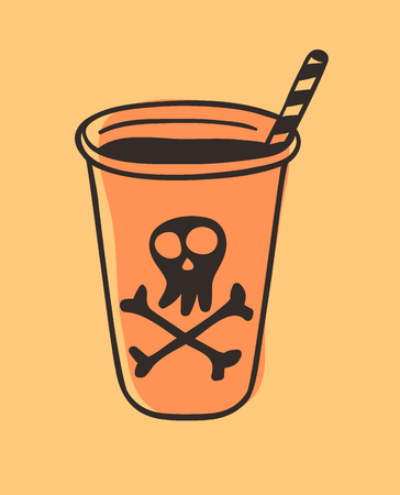 Hand drawn illustration of a drink with skull and bones. Creative ink art work. Actual vector drawing Alcohol ?ocktail. Artistic isolated Halloween object