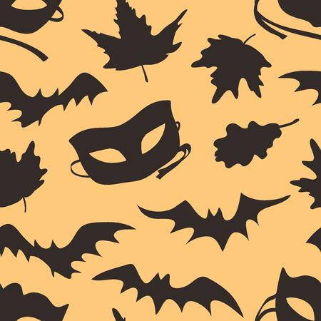 Hand drawn fashion background. Creative ink art work. Actual vector seamless pattern. Halloween set: autumn leaves, mask, bat
