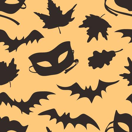 Hand drawn fashion background. Creative ink art work. Actual vector seamless pattern. Halloween set: autumn leaves, mask, bat