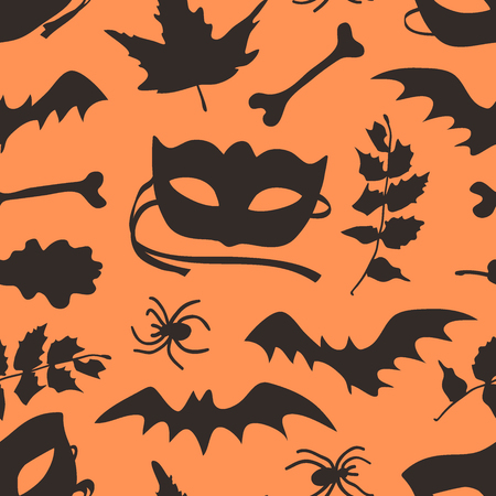 Hand drawn fashion background. Creative ink art work. Actual vector seamless pattern. Halloween set: autumn leaves, mask, bat, twig, spider, bone