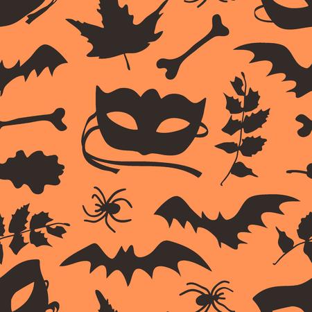 Hand drawn fashion background. Creative ink art work. Actual vector seamless pattern. Halloween set: autumn leaves, mask, bat, twig, spider, bone