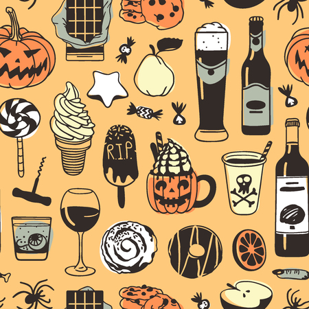 Hand drawn fashion background. Creative ink art work. Actual vector seamless pattern. Halloween set: wine, beer, candy, pumpkin, pear, star cookie, ice cream, bun, donut, apple and other