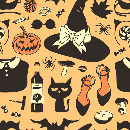 Hand drawn fashion background. Creative ink art work. Actual vector seamless pattern. Halloween set: witch hat, Jack o lantern, cat, wine, apple, spider, glasses, leaves and other Banque d'images - 109014793