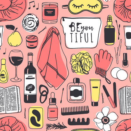 Hand drawn seamless pattern with cosmetics. Vector illustration. Actual background with beauty products. Original doodle style drawing Bath Things. Creative ink art work Stock fotó - 128486712