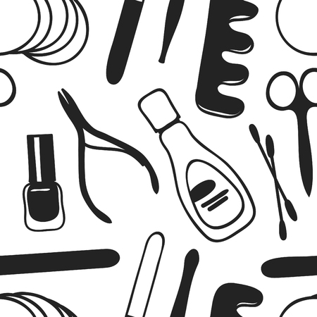 Hand drawn seamless pattern with manicure accessories. Vector illustration. Actual background with beauty products. Original doodle style drawing cosmetics. Creative ink art work