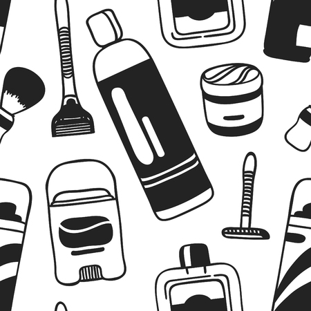 Hand drawn seamless pattern with male cosmetics. Vector illustration. Actual background with beauty products. Original doodle style drawing Bath Things. Creative ink art work