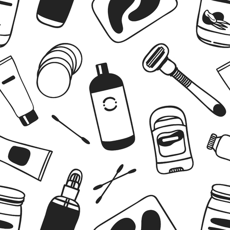 Hand drawn seamless pattern with cosmetics. Vector illustration. Actual background with beauty products. Original doodle style drawing Bath Things. Creative ink art work