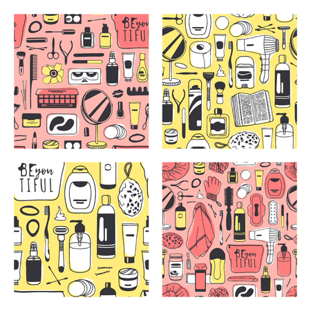 Set of Hand drawn seamless patterns with cosmetics. Vector illustration. Actual background with beauty products. Original doodle style drawing Bath Things. Creative ink art work Illusztráció
