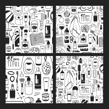 Set of Hand drawn seamless patterns with cosmetics. Vector illustration. Actual background with beauty products. Original doodle style drawing Bath Things. Creative ink art work Ilustracja