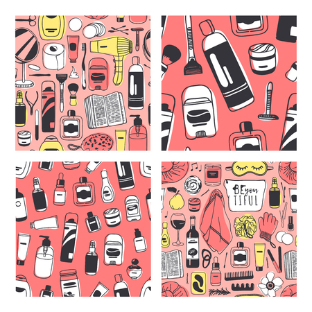Set of Hand drawn seamless patterns with cosmetics. Vector illustration. Actual background with beauty products. Original doodle style drawing Bath Things. Creative ink art work Ilustração
