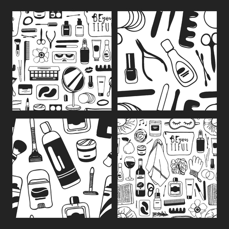 Set of Hand drawn seamless patterns with cosmetics. Vector illustration. Actual background with beauty products. Original doodle style drawing Bath Things. Creative ink art work Illustration