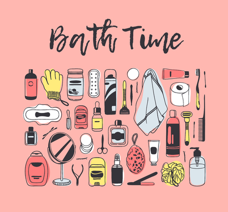 Hand drawn set with beauty products. Pink Bath vector background. Actual fashion illustration. Original doodle style drawing. Creative ink art work  イラスト・ベクター素材