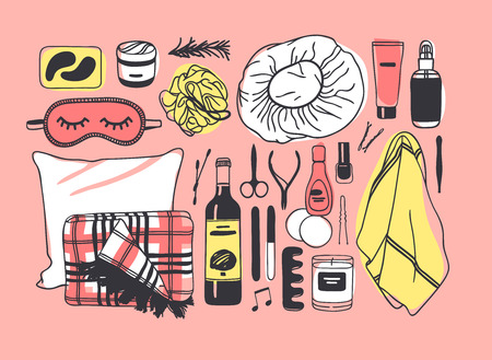 Hand drawn set with beauty products. Pink Bath vector background. Actual fashion illustration. Original doodle style drawing. Creative ink art work Illustration