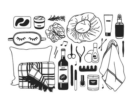 Hand drawn set with beauty products. Black and white Bath vector background. Actual fashion illustration. Original doodle style drawing. Creative ink art work