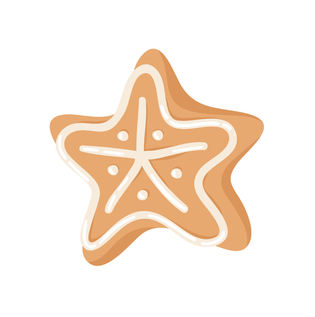 Cartoon vector illustration Ginger bread Cookie Star. Hand drawn Christmas sweet. Actual Creative Holidays bake