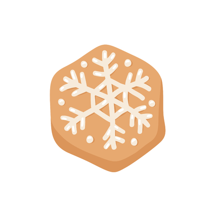 Cartoon vector illustration Ginger bread Cookie Snowflake. Hand drawn Christmas sweet. Actual Creative Holidays bake
