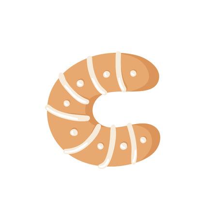 Cartoon vector illustration Ginger bread Cookie Letter C. Hand drawn Christmas sweet. Actual Creative Holidays bake alphabet Standard-Bild - 128486739