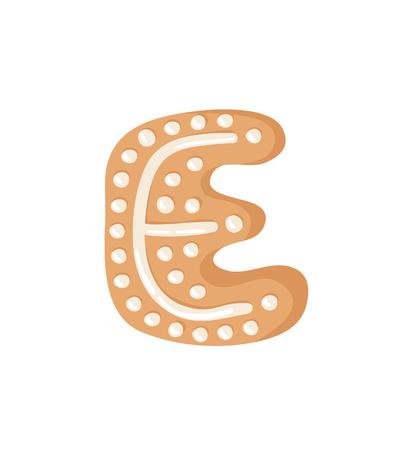 Cartoon vector illustration Ginger bread Cookie Letter E. Hand drawn Christmas sweet. Actual Creative Holidays bake alphabet Standard-Bild - 128486741