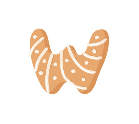 Cartoon vector illustration Ginger bread Cookie Letter W. Hand drawn Christmas sweet. Actual Creative Holidays bake alphabet
