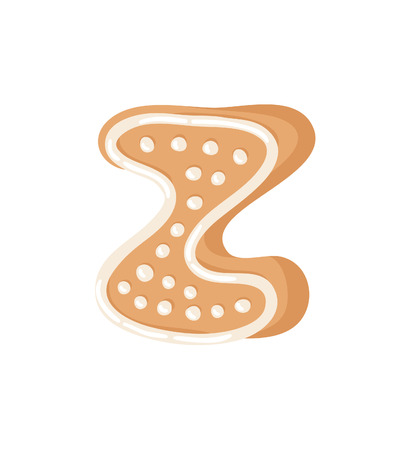 Cartoon vector illustration Ginger bread Cookie Letter Z. Hand drawn Christmas sweet. Actual Creative Holidays bake alphabet
