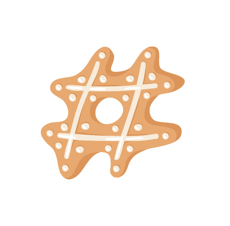 Cartoon vector illustration Ginger bread Cookies sign hashtag. Hand drawn Christmas font. Actual Creative Holidays bake symbol