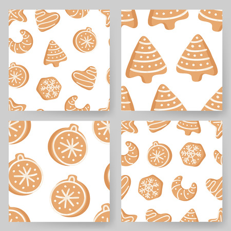 Set of Cartoon vector illustration Ginger bread Cookies. Hand drawn Christmas seamless pattern with Star, Tree, Ball, Heart, Moon, Snowflake. Actual Creative Holidays bake