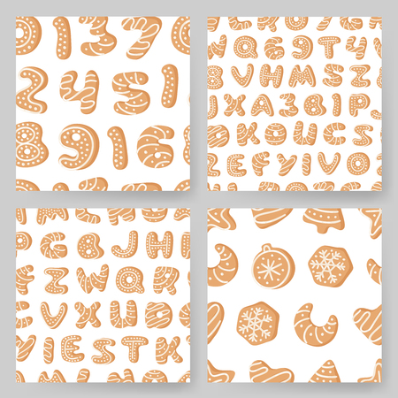 Set of cartoon vector illustration Ginger bread Cookies. Hand drawn Christmas seamless pattern with font. Actual Creative Holidays bake alphabet