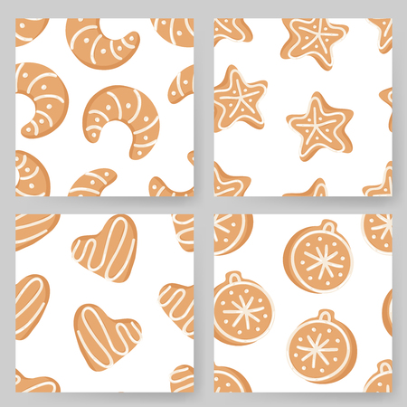 Set of Cartoon vector illustration Ginger bread Cookies. Hand drawn Christmas seamless pattern with Star, Tree, Ball, Heart, Moon, Snowflake. Actual Creative Holidays bake Standard-Bild - 128486774