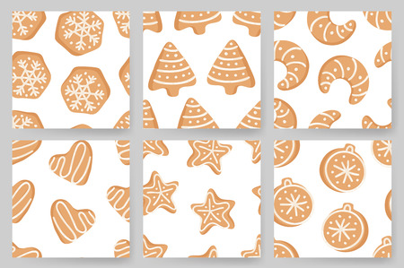 Set of Cartoon vector illustration Ginger bread Cookies. Hand drawn Christmas seamless pattern with Star, Tree, Ball, Heart, Moon, Snowflake. Actual Creative Holidays bake Standard-Bild - 128486776
