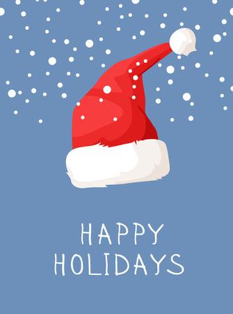 Hand drawn Christmas hat and snow on blue background. Cartoon drawing. Vector art illustration snowfall 向量圖像