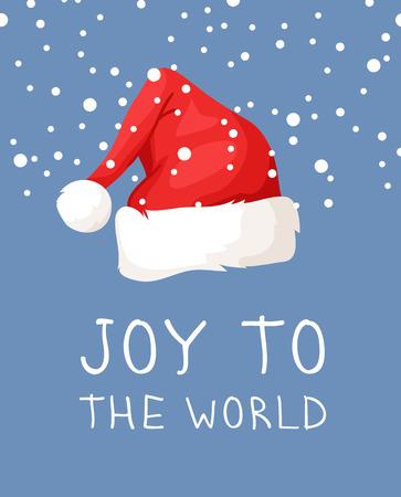 Hand drawn Christmas hat and snow on blue background. Cartoon drawing. Vector art illustration snowfall Stock fotó - 128486784
