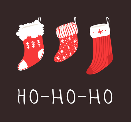 Hand drawn set of Cozy Christmas socks for gifts on dark background. Happy Holidays greeting  card. Funny cartoon drawing and text. Vector art illustration
